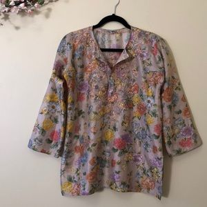 Leaves of Grass Natural Silk Embroidery Blouse, 8